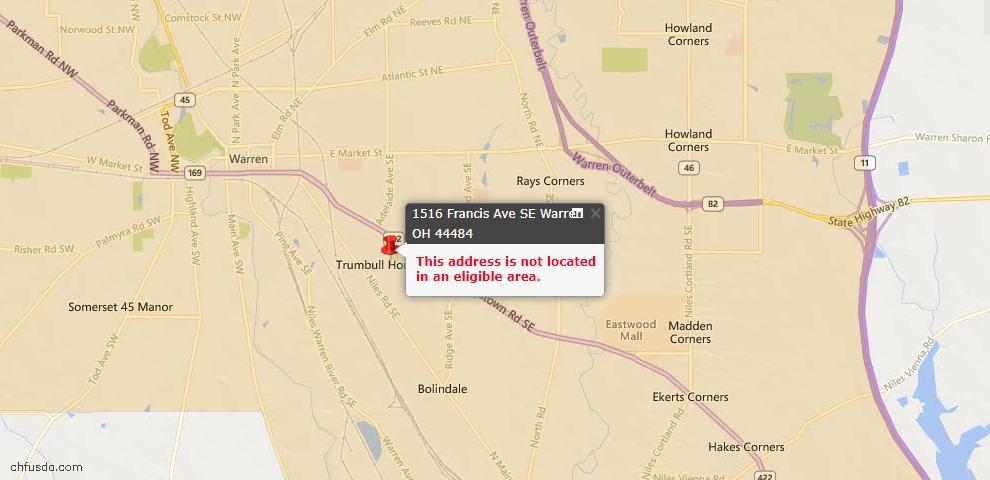 USDA Loan Eligiblity Map - 1516 Francis Ave SE, Warren, OH 44484
