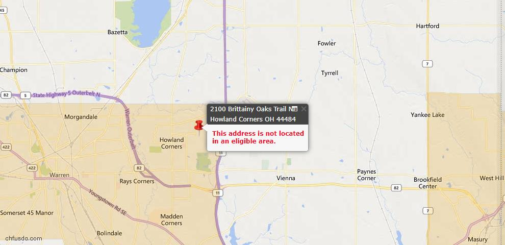 USDA Loan Eligiblity Maps From - Howland, OH