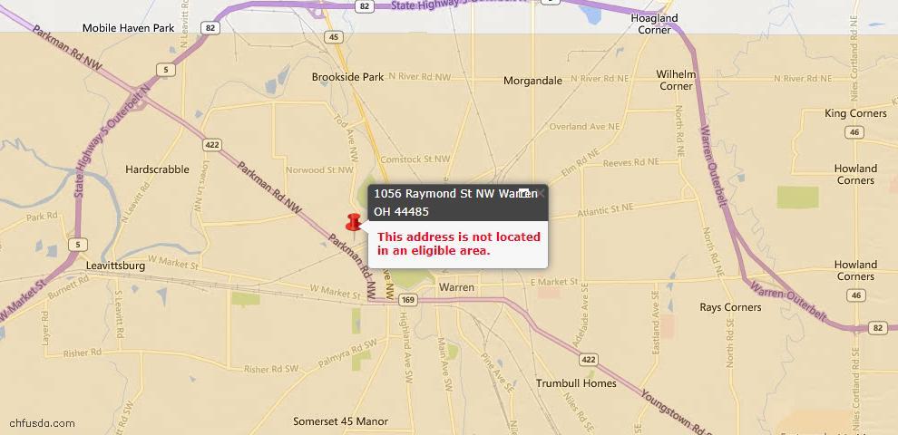 USDA Loan Eligiblity Map - 1056 Raymond St NW, Warren, OH 44485