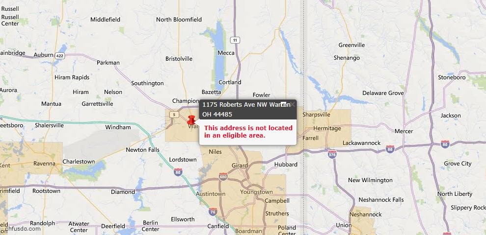 USDA Loan Eligiblity Map - 1175 Roberts Ave NW, Warren, OH 44485