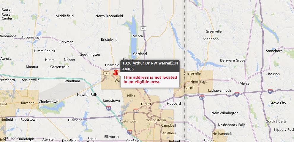 USDA Loan Eligiblity Map - 1320 Arthur Dr NW, Warren, OH 44485