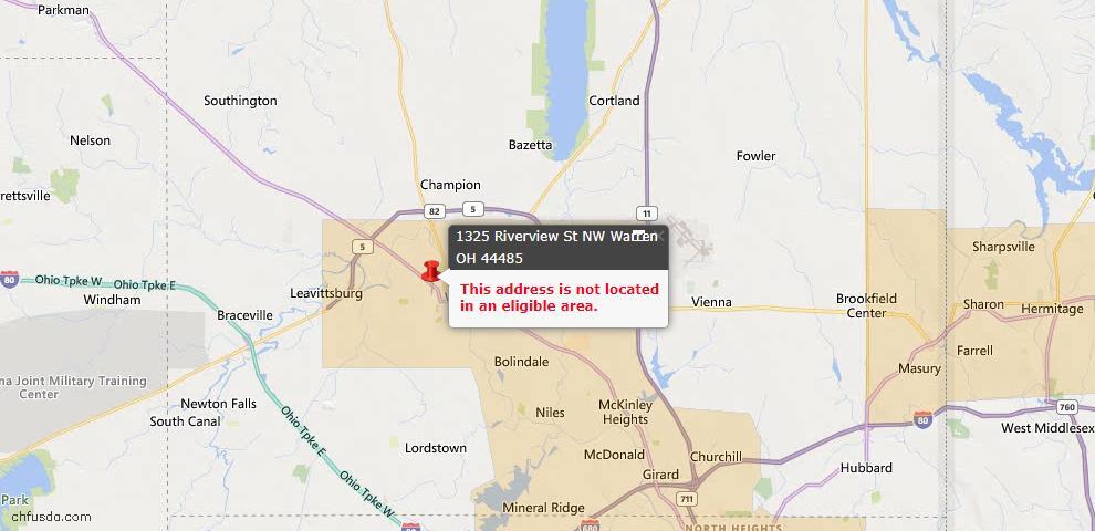 USDA Loan Eligiblity Map - 1325 Riverview St NW, Warren, OH 44485