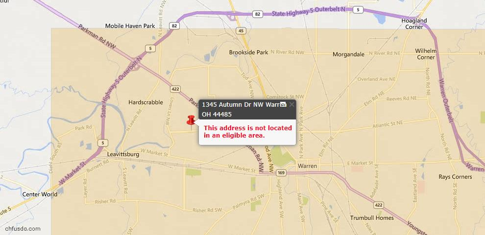 USDA Loan Eligiblity Map - 1345 Autumn Dr NW, Warren, OH 44485