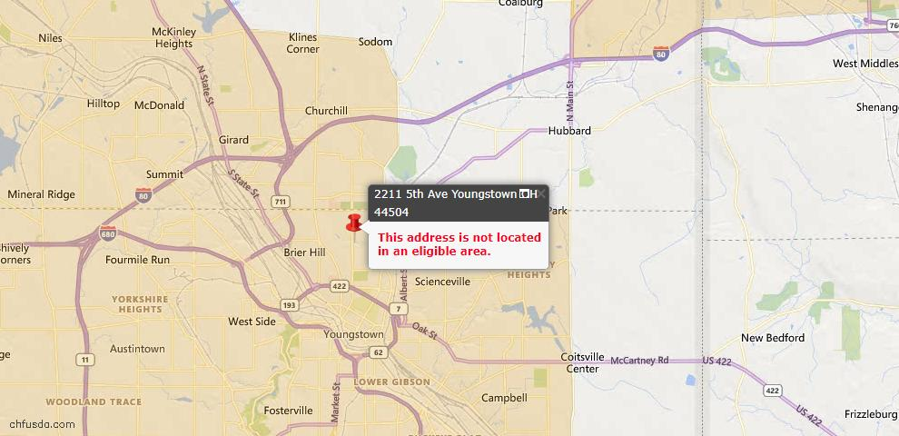 USDA Loan Eligiblity Maps From - 44504, OH