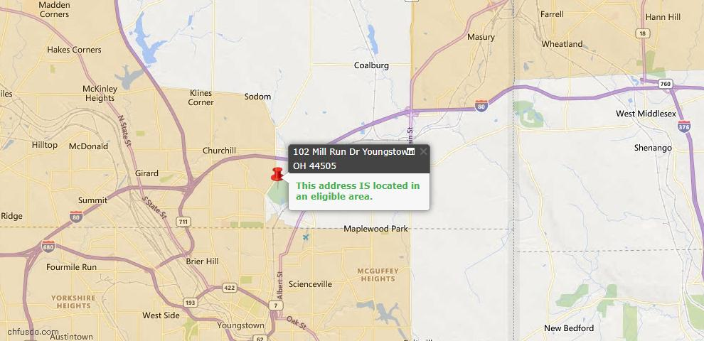 USDA Loan Eligiblity Map - 102 Mill Run Dr, Youngstown, OH 44505