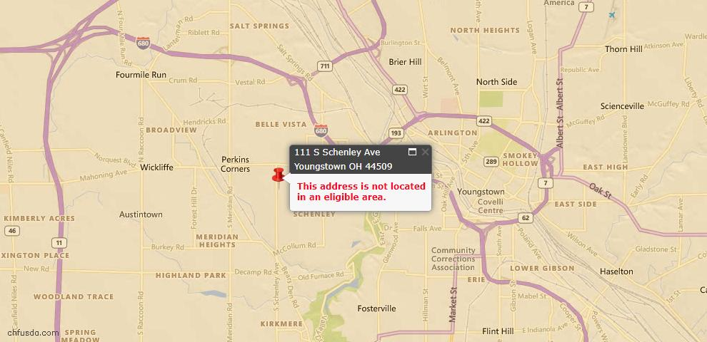 USDA Loan Eligiblity Map - 111 S Schenley Ave, Youngstown, OH 44509