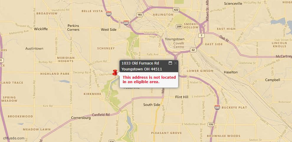 USDA Loan Eligiblity Map - 1033 Old Furnace Rd, Youngstown, OH 44511