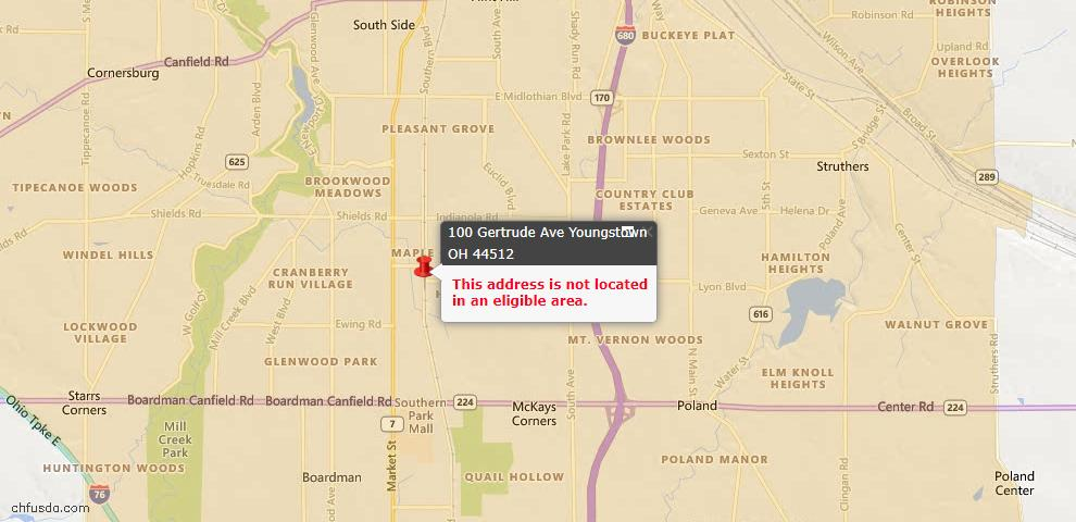 USDA Loan Eligiblity Map - 100 Gertrude Ave, Youngstown, OH 44512
