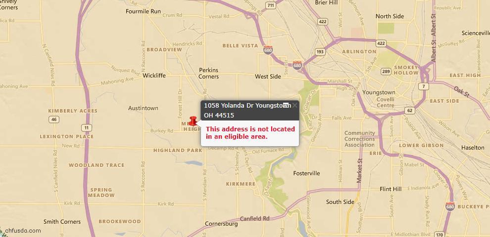 USDA Loan Eligiblity Map - 1058 Yolanda Dr, Youngstown, OH 44515