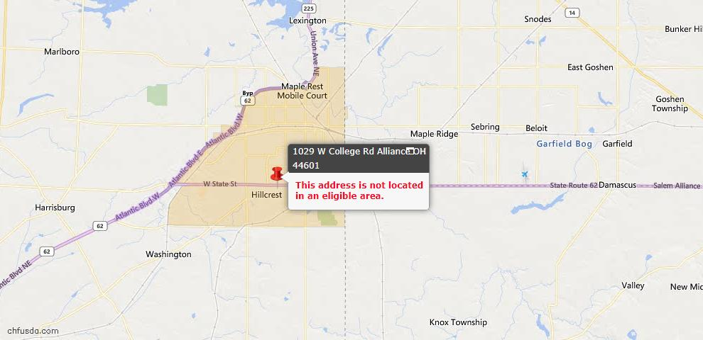 USDA Loan Eligiblity Map - 1029 W College Rd, Alliance, OH 44601