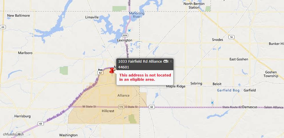 USDA Loan Eligiblity Map - 1033 Fairfield Rd, Alliance, OH 44601