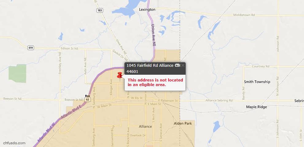 USDA Loan Eligiblity Map - 1045 Fairfield Rd, Alliance, OH 44601