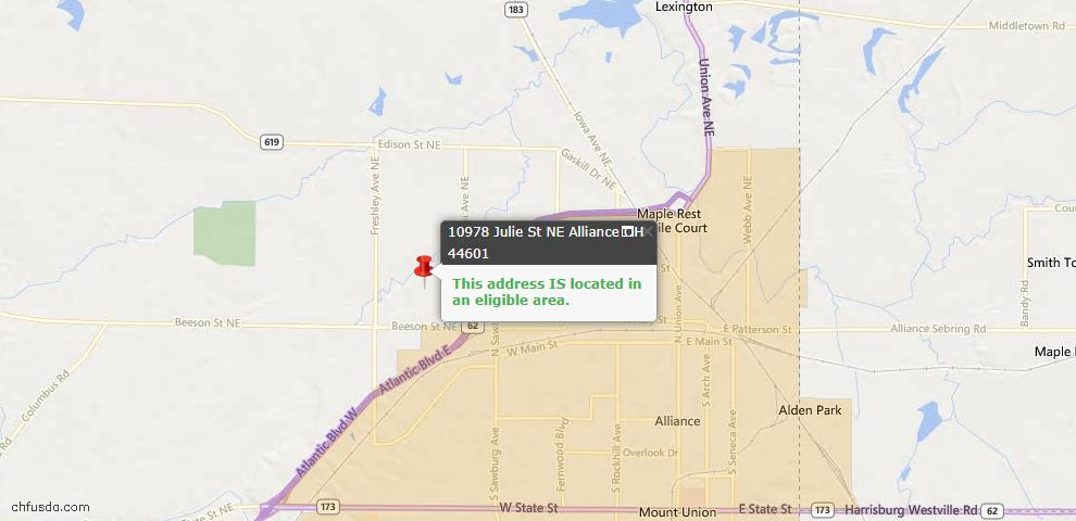 USDA Loan Eligiblity Map - 10978 Julie St NE, Alliance, OH 44601