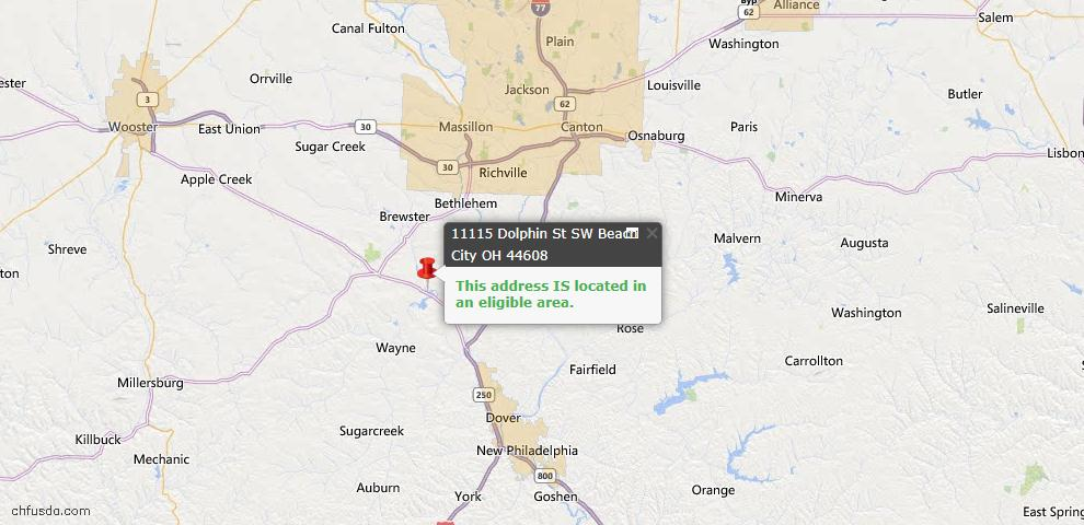 USDA Loan Eligiblity Map - 11115 Dolphin St SW, Beach City, OH 44608