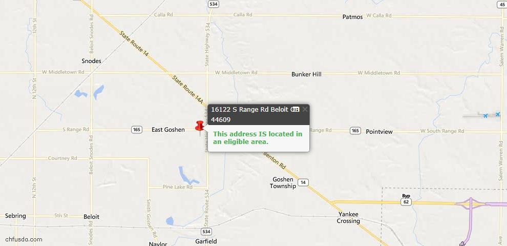 USDA Loan Eligiblity Maps From - 44609, OH