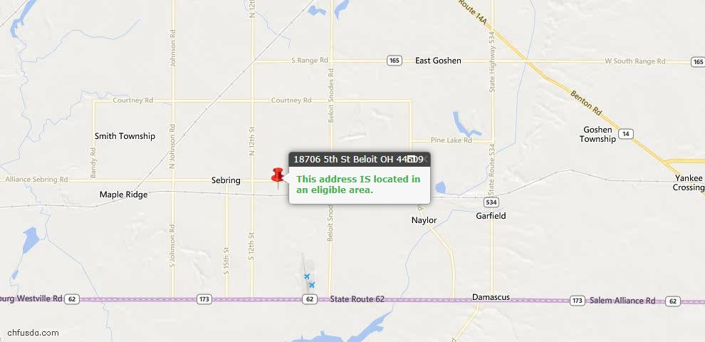 USDA Loan Eligiblity Maps From - Beloit, OH
