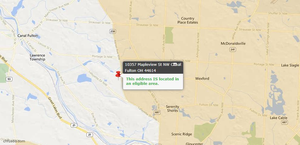USDA Loan Eligiblity Map - 10357 Mapleview St NW, Canal Fulton, OH 44614