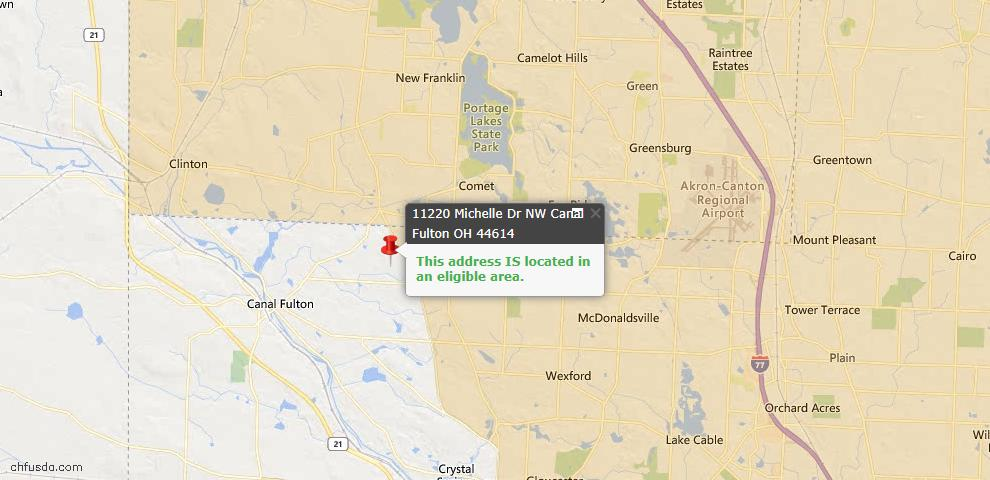 USDA Loan Eligiblity Map - 11220 Michelle Dr NW, Canal Fulton, OH 44614