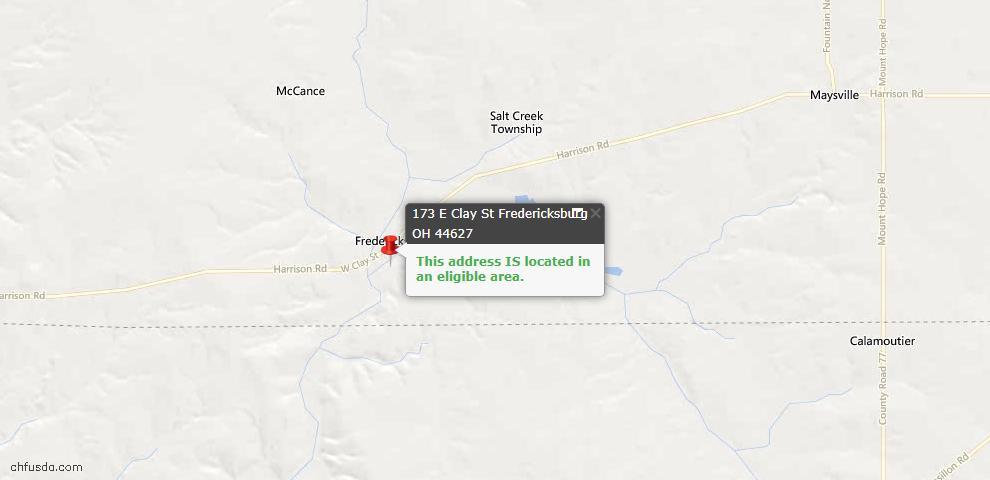 USDA Loan Eligiblity Maps From - Fredericksburg, OH