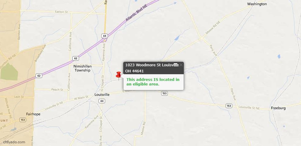 USDA Loan Eligiblity Map - 1023 Woodmore St, Louisville, OH 44641
