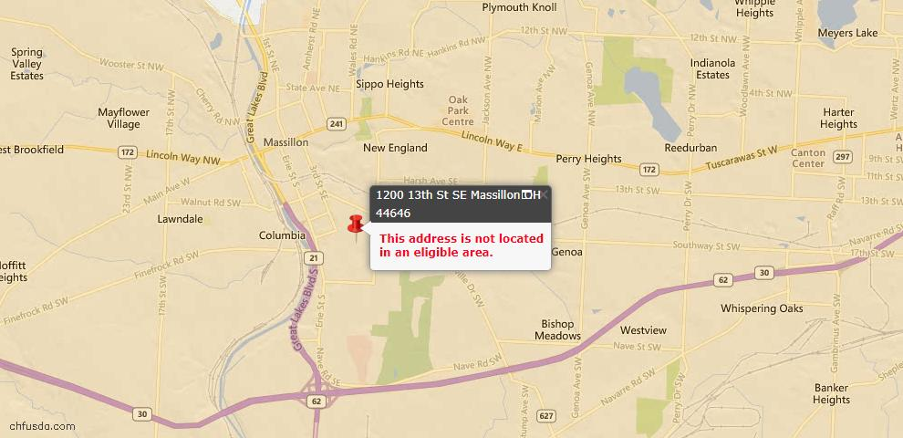 USDA Loan Eligiblity Map - 1200 13th St SE, Massillon, OH 44646