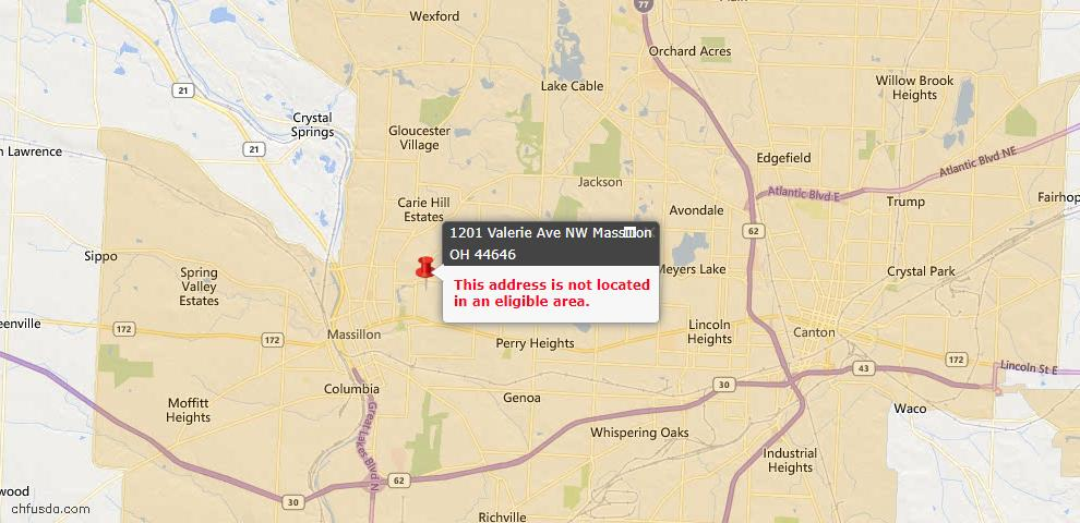 USDA Loan Eligiblity Map - 1201 Valerie Ave NW, Massillon, OH 44646