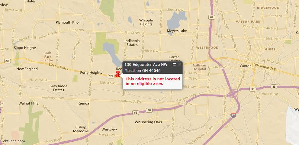 USDA Loan Eligiblity Map - 130 Edgewater Ave NW, Massillon, OH 44646