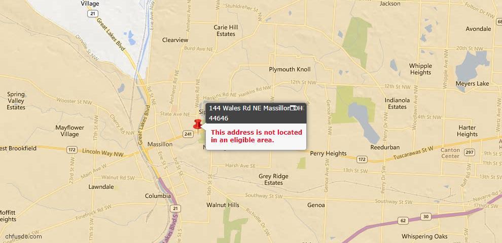 USDA Loan Eligiblity Map - 144 Wales Rd NE, Massillon, OH 44646