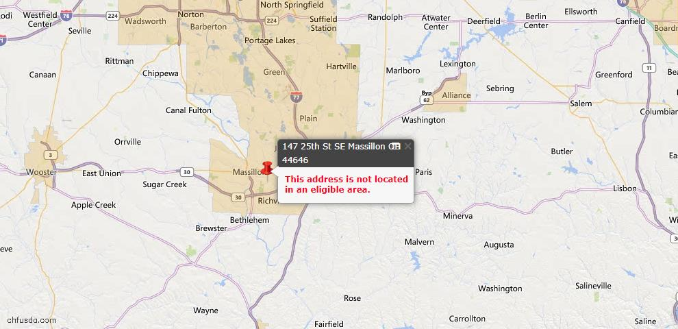 USDA Loan Eligiblity Map - 147 25th St SE, Massillon, OH 44646