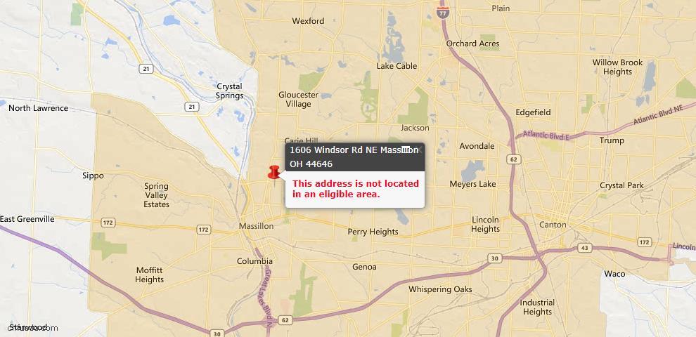 USDA Loan Eligiblity Map - 1606 Windsor Rd NE, Massillon, OH 44646