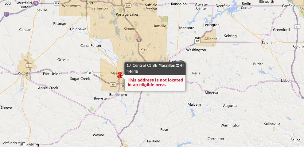 USDA Loan Eligiblity Map - 17 Central Ct SE, Massillon, OH 44646