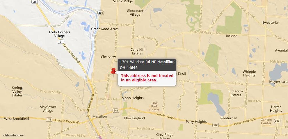 USDA Loan Eligiblity Map - 1701 Windsor Rd NE, Massillon, OH 44646