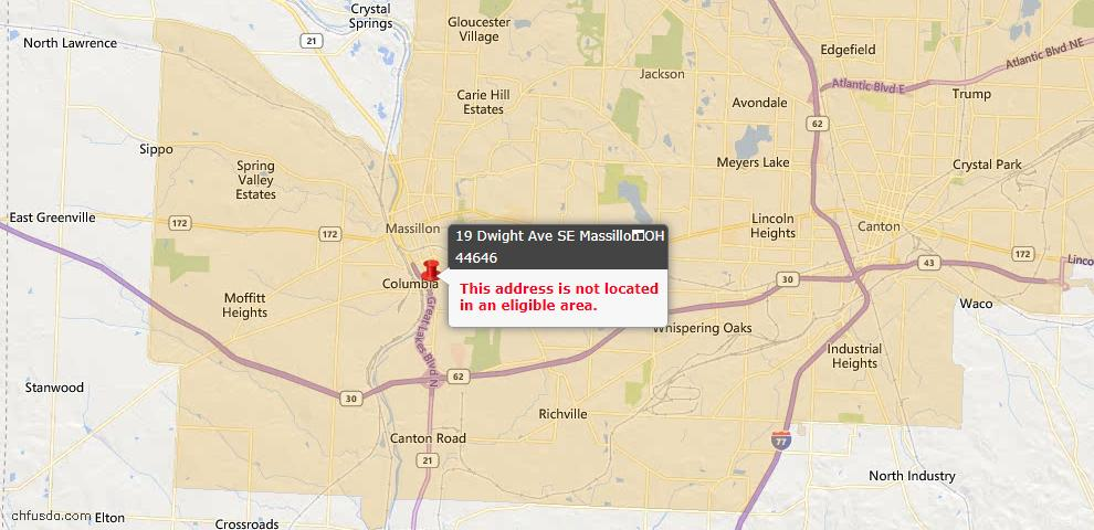 USDA Loan Eligiblity Map - 19 Dwight Ave SE, Massillon, OH 44646