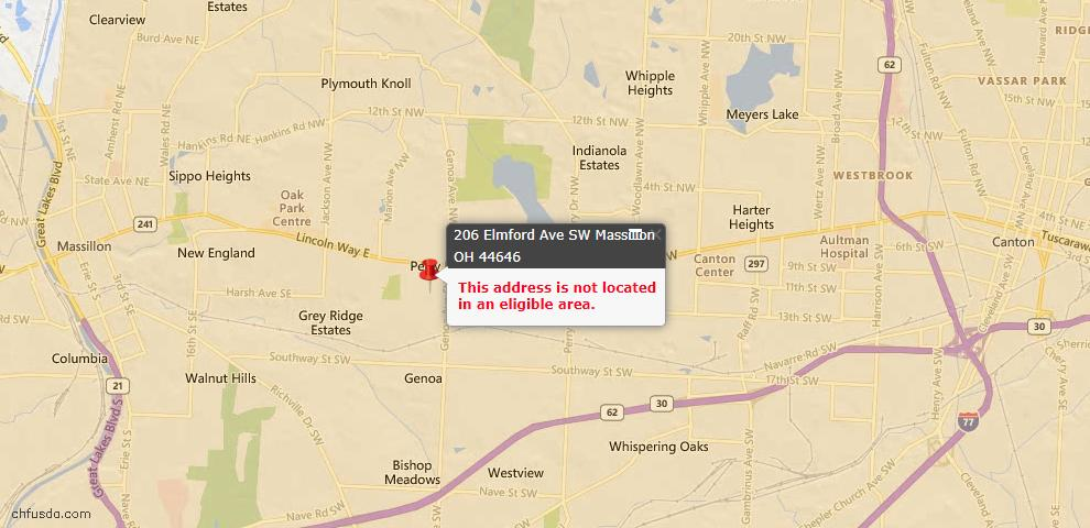 USDA Loan Eligiblity Map - 206 Elmford Ave SW, Massillon, OH 44646