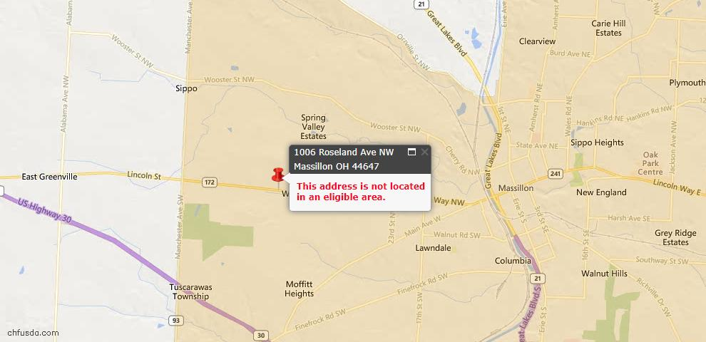 USDA Loan Eligiblity Map - 1006 Roseland Ave NW, Massillon, OH 44647