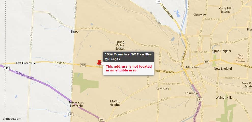 USDA Loan Eligiblity Map - 1009 Miami Ave NW, Massillon, OH 44647