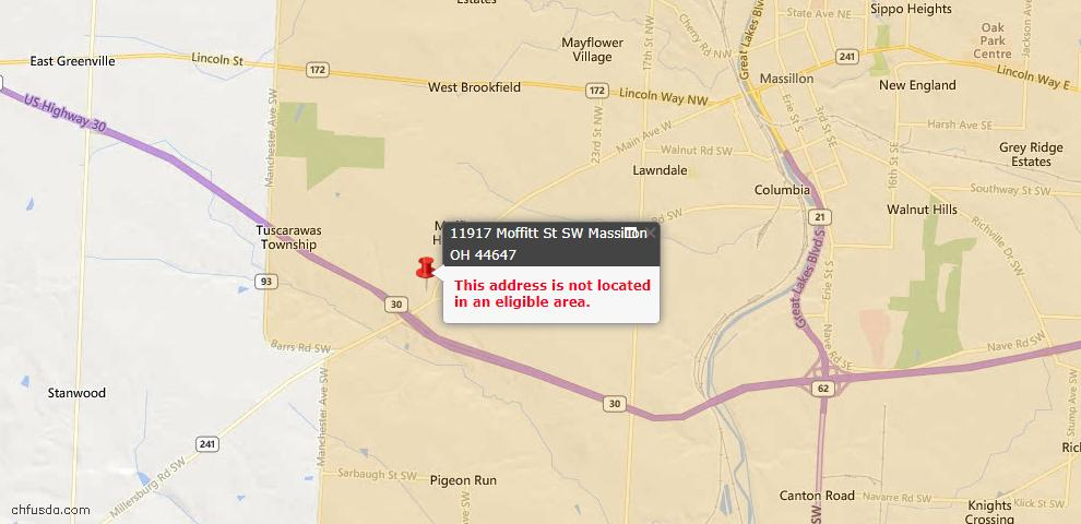 USDA Loan Eligiblity Map - 11917 Moffit St SW, Massillon, OH 44647