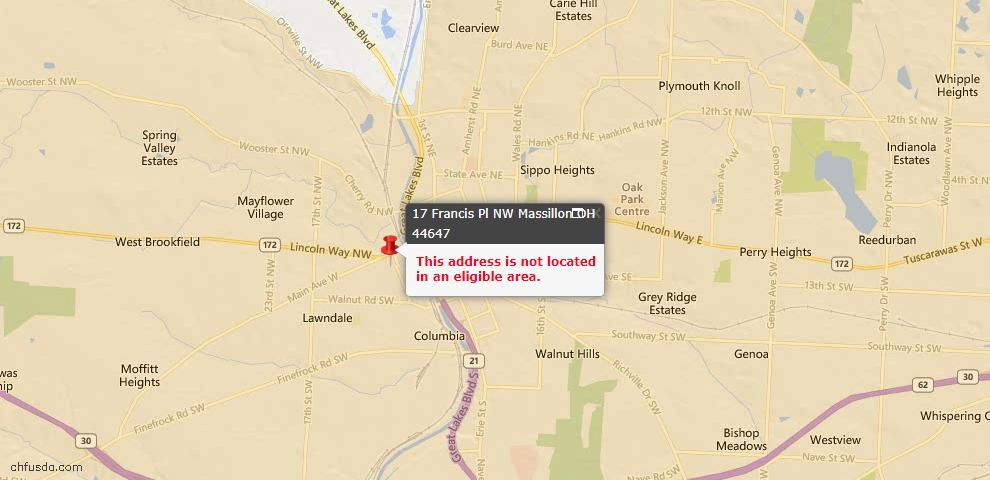 USDA Loan Eligiblity Map - 17 Francis Pl NW, Massillon, OH 44647