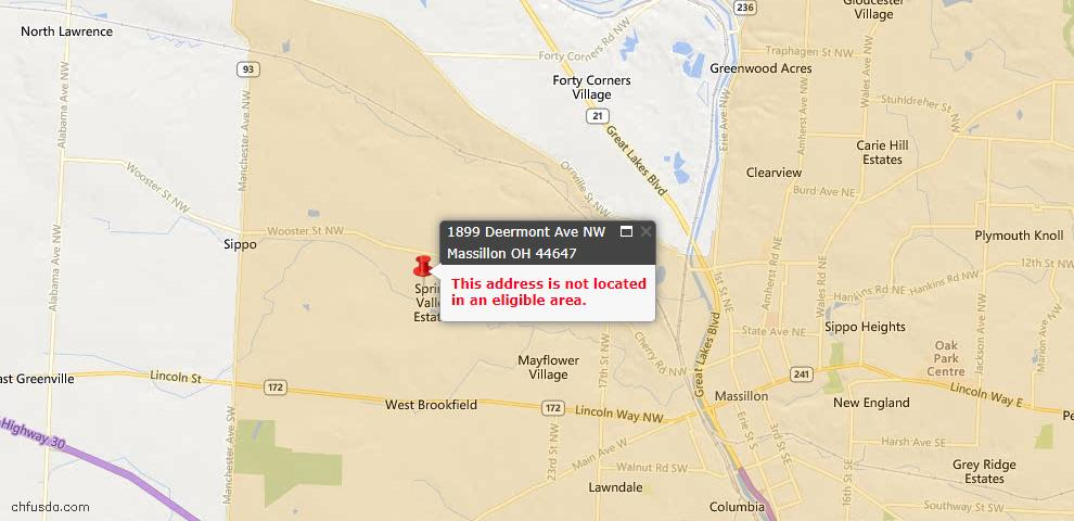 USDA Loan Eligiblity Map - 1899 Deermont Ave NW, Massillon, OH 44647
