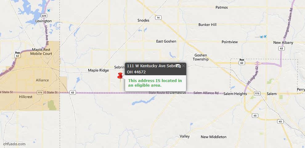 USDA Loan Eligiblity Map - 111 W Kentucky Ave, Sebring, OH 44672