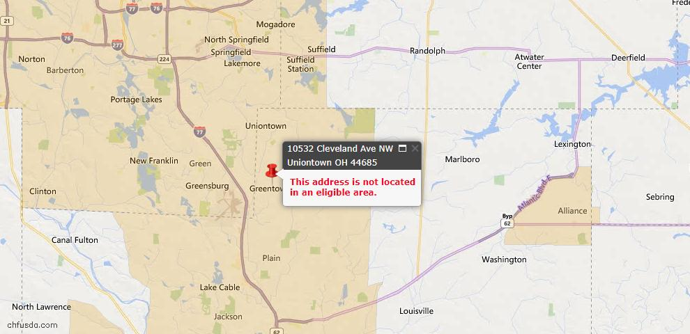 USDA Loan Eligiblity Map - 10532 Cleveland Ave NW, Uniontown, OH 44685