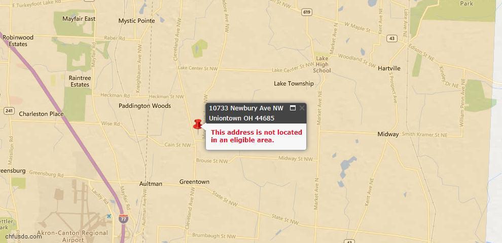 USDA Loan Eligiblity Map - 10733 Newbury Ave NW, Uniontown, OH 44685