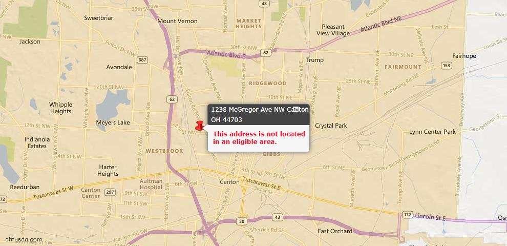 USDA Loan Eligiblity Map - 1238 Mcgregor Ave NW, Canton, OH 44703
