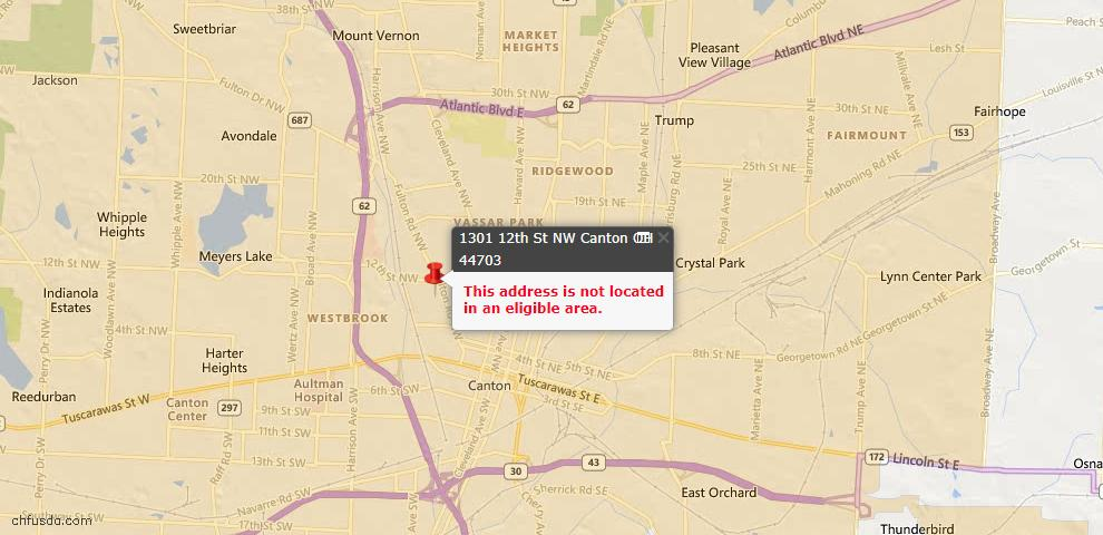 USDA Loan Eligiblity Map - 1301 12th St NW, Canton, OH 44703