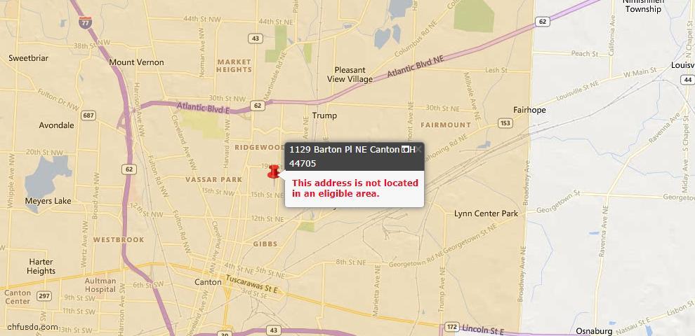 USDA Loan Eligiblity Map - 1129 Barton Pl NE, Canton, OH 44705