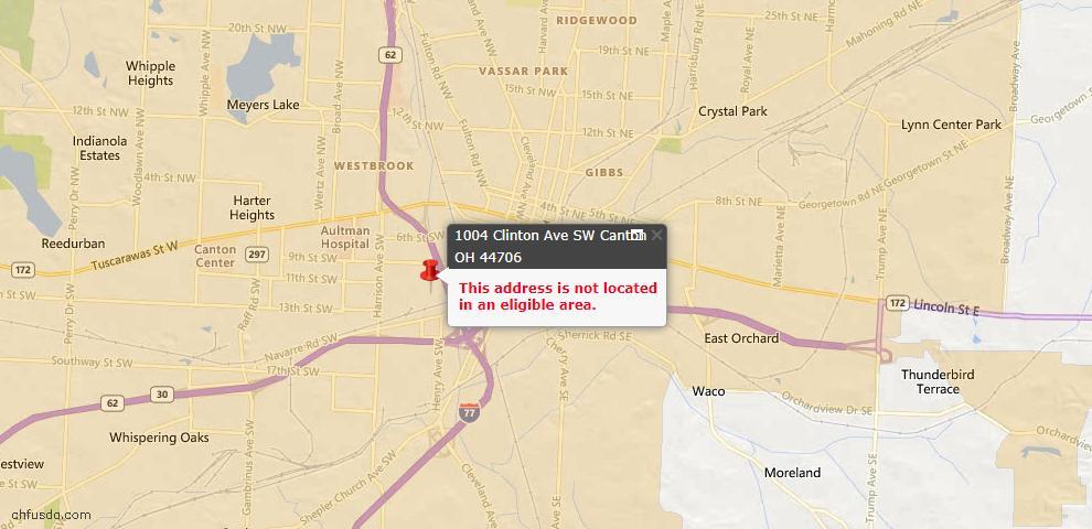 USDA Loan Eligiblity Map - 1004 Clinton Ave SW, Canton, OH 44706