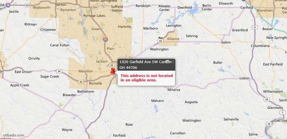 USDA Loan Eligiblity Map - 1026 Garfield Ave SW, Canton, OH 44706