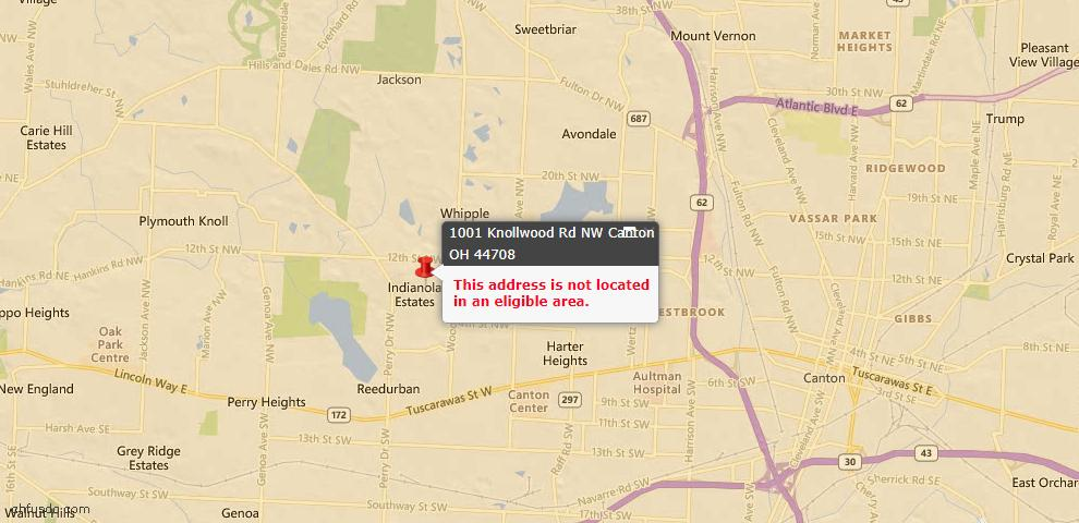 USDA Loan Eligiblity Map - 1001 Knollwood Rd NW, Canton, OH 44708