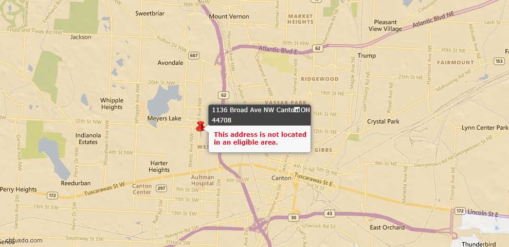 USDA Loan Eligiblity Map - 1136 Broad Ave NW, Canton, OH 44708