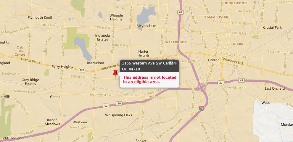 USDA Loan Eligiblity Map - 1156 Western Ave SW, Canton, OH 44710